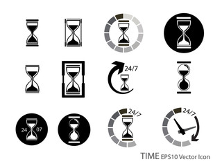 Set of Sand glass and timer icon vector illustration