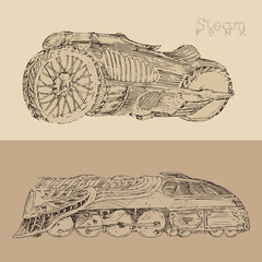 steam punk motorcycle and train illustration, engraved style