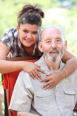 grandad and granchild, happy family