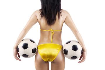 Sexy woman brazil fans holding soccer balls
