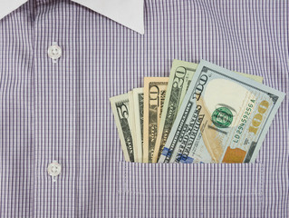 money in shirt pocket