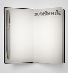 Notebook with pen -Clipping Path