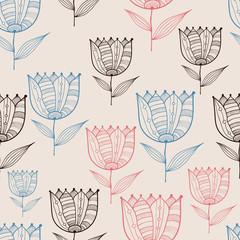 Vector Seamless Doodle Floral Pattern with Tulips