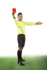 Schiedsrichter mit roter Karte, freigestellt