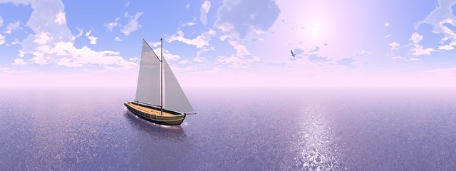 Sailing boat, 360 degrees effect - 3D render