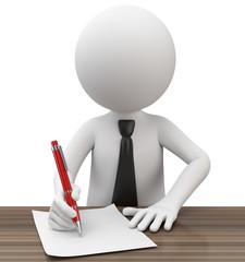 Männchen unterschreibt ein Dokument