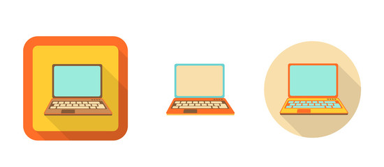 set of flat retro icons - laptop, illustration