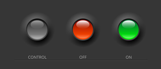 glossy buttons on black background