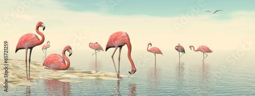 Flock of pink flamingos - 3D render - 65721259