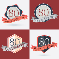 Set of Retro vector Stamps/Seal for 80th business anniversary .