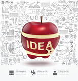 Infographic Apple doodles line drawing success strategy plan