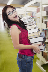 Student borrow many books in library