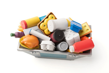Kunststoff Lebensmittel in einer Müllcontainer