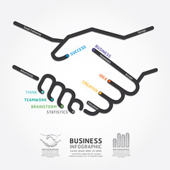 business handshake diagram line style template