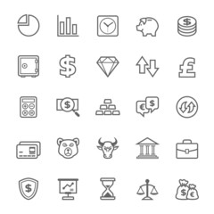Set of Outline stroke Finance and Stock icon