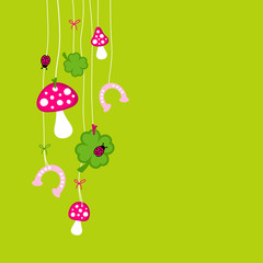 Fly Agarics, Cloverleafs, Horseshoes & Ladybugs Pink/Green