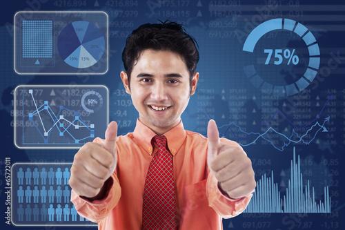 Successful businessman with futuristic interface