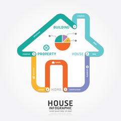 infographics vector building house design diagram line style