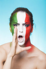 Italian supporter for FIFA 2014 screaming and looking