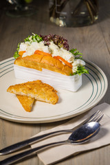sandwiches salad fried bread dish set