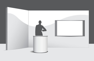 Stand con help desk, wall, hostess e monitor