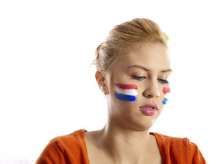 girl with dutch flag face painting