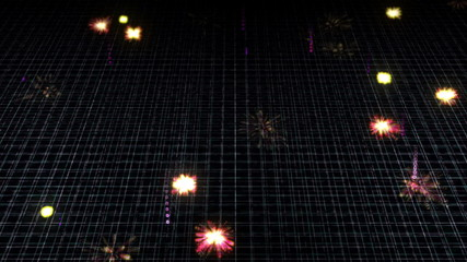 Virtual grid blocking digital particles which explode on impact