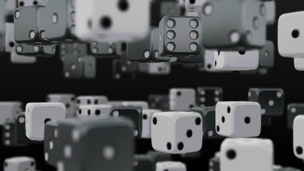 An array of dice swirling randomly around each other