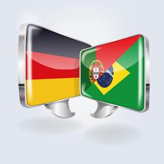 Sprechblasen in deutsch, portugiesisch und brasilianisch