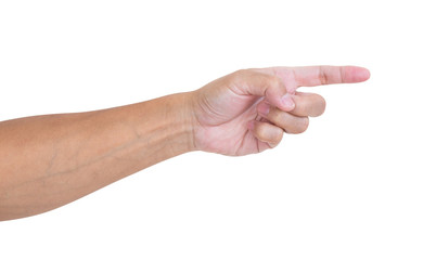 Man hand pointing isolated on white background
