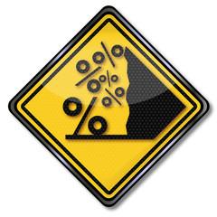 Schild mit Prozentlawine