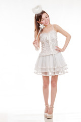 Smiling Asian Woman in White FairyCostume, isolated
