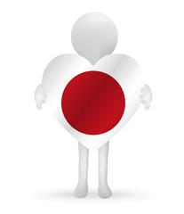 3d man holding a Japan flag
