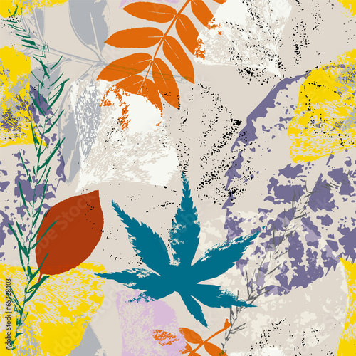 seamless background pattern, with ginkgo leaves - 65728403