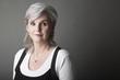 canvas print picture - Frau,50,grauhharig,Porträt