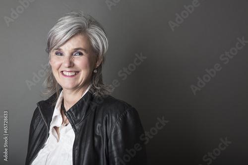 canvas print picture Frau,50,grauhharig,Porträt