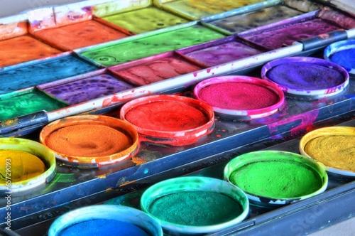 Leinwanddruck Bild Farbkasten
