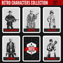 Retro vintage people collection. Mafia noir style professions.