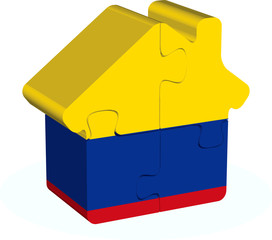 house home icon with Colombia flag in puzzle