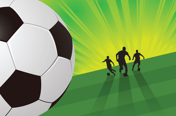 Soccer player on green light background
