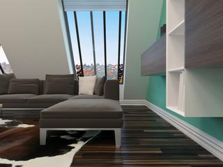 Modernes Wohnzimmer mit Couch und Dachschräge