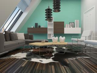 Modernes Wohnzimmer mit luxuriöser Ausstattung