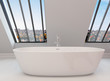 Freestanding modern bathtub under view windows