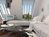 Modular lounge suite in a living room interior poster