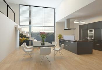 Modern kitchen interior with a mezzanine