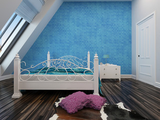 Modern blue bedroom with a wrought iron bed