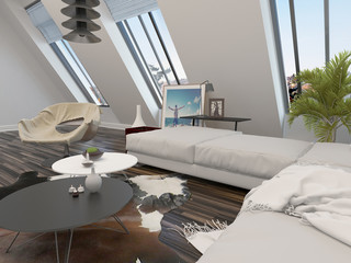 Bright airy modern living room interior