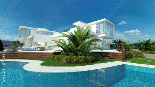 Modern upmarket tropical villa exterior with pool