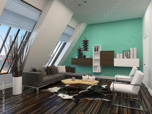 Modern living room interior with sloping windows