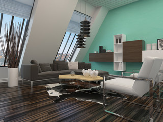 Modern sitting room interior decor